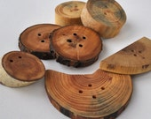 Unique  Wood Buttons •   MIX large wooden buttons •  set of 7 wooden buttons