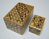 Japanese Puzzle box (Himitsu bako)- The Nested box-2.8inch 5steps and 1.7inch 10steps Yosegi