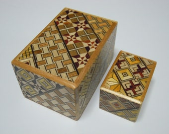 Japanese Puzzle box (Himitsu bako)- The Nested box-3.0inch 5steps and 1.7inch 14steps Yosegi