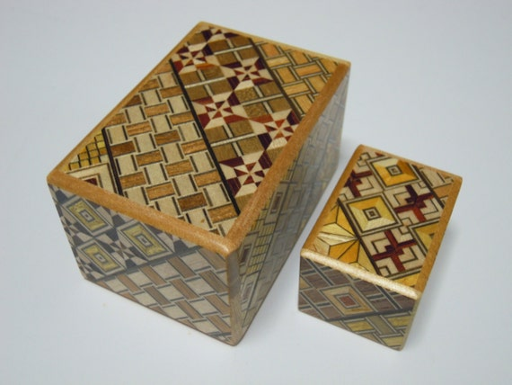 Japanese Puzzle box (Himitsu bako)- The Nested box-3.0inch 5steps and 1.7inch 14steps Yosegi