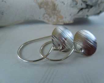 Sterling Silver Small Textured and Disc Earrings-Textured Round Metal Swank In Silver