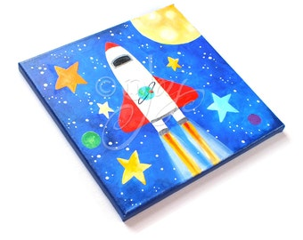 SPACE SHUTTLE Wall Art for Kids Rooms,12x12 acrylic canvas, Children's Wall Art, space themed nursery