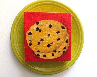 Miniature Cookie Art, The Daily Treat 8.22.14, Mini Painting, 4x4 acrylic canvas