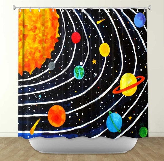 Kids shower curtain solar system 4 kids bathroom decor for Space themed bathroom