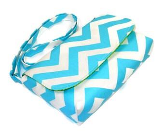 Small Blue Chevron Purse, Mini Messenger Bag, Chevron Pocketbook, Light Turquoise Crossbody Bag - Aqua Chevron Bag, Adjustable Strap