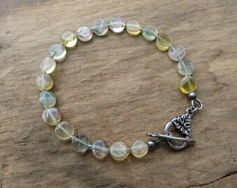Green Yellow Fluorite Bracelet,rustic Bohemian stone bead jewelry in pale spring summer colors, fluorite disk bracelet
