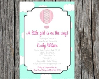 Hot air balloon Baby Shower Invitation, baby girl shower, custom and printable, hot air balloon invitation