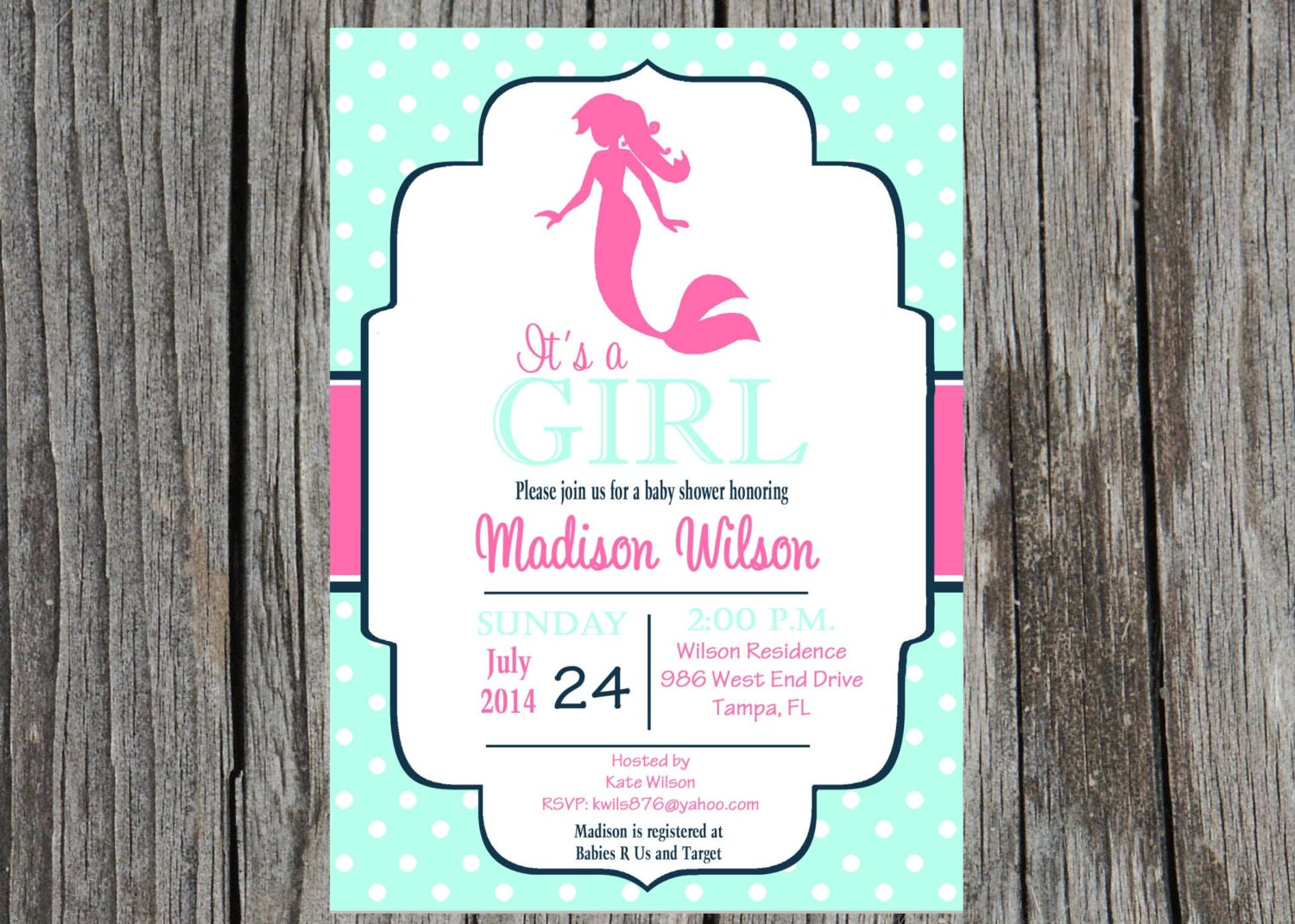 mermaid baby shower invitation nautical baby by printyourevent