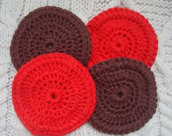 Face Scrubbies Cotton Cleansing Pads Red and Brown Set of Four