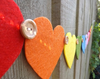 Rainbow Heart Garland, Rainbow Garland, Felt Garland, Gay wedding Decor, Heart Garland, Rainbow banner, Rainbow bunting, Rainbow Nursery,
