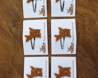 Set of 6, Fawn Barrettes, Party Favors, Fawn Hair clips, woodland party, deer party, party bag gifts, Fawn jewellery, girls birthday party,