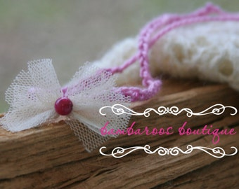 baby headband, Newborn photography props, ivory bow on  lavender wool tie, newborn headband, ivory headband, lavender headband