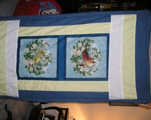 Bird Panel Blanket - Reversible featuring blue jean cotton
