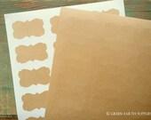 "180 Kraft Stickers, 2.25""x1.25"" decorative rectangular stickers, (57x32mm), recycled stickers, eco-friendly kraft brown stickers (10 sheets)"