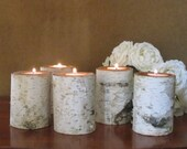 """5  4"""" Birch Candle Holders for Weddings, Bridal Showers, Garden Party Centerpieces Reception Holiday Decor"""