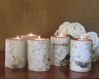"""10  4"""" Birch Candle Holders for Weddings, Bridal Showers, Garden Party Centerpieces Reception Holiday Decor"""