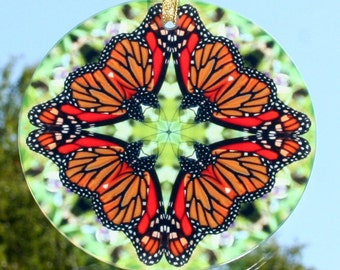 Suncatcher Monarch Butterfly Mandala Boho Chic Sacred Geometry Hippie Kaleidoscope Mod Unique Gift For Her New Age Bohemian Jeweled Jubilee