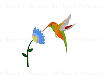 Hummingbird with Flower Embroidery Design Instant Download