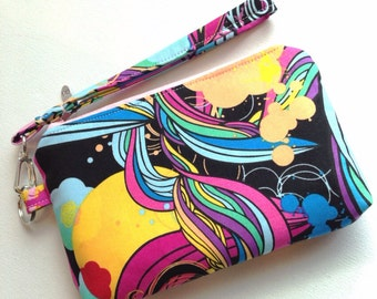 Wristlet, Clutch, Cell Phone Case, Abstract Multi Color Print