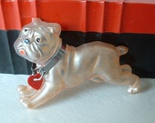 UGA Bulldog Pin Brooch Vintage DECO Yale / UGA Bulldog Lucite Chrome Collar with Red Heart Pin Brooch Classic Pink Luster