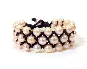 Freshwater Pearl and Leather Bracelet - Orrawee C