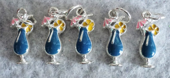 Tropical Drink Enamel Charms - Set of 6