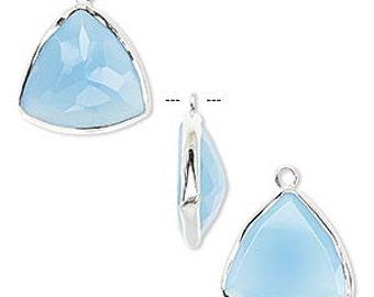 2 Drops Sterling Silver 16mm Teardrop Blue Chalcedony Faceted Earrings