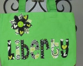 Girl's Personalized Library Tote with Flower Applique - kids book bag girl school custom birthday gift idea wedding flower girl toy purse