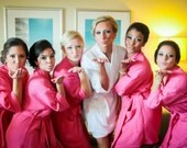 6 Embroidered Bridesmaids and Bride Robes Front embroidery included on all robes