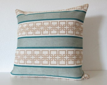 Geometric abstract teal stripes decorative throw pillow covers