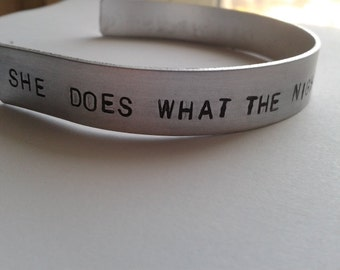 She does what the night does to the day - She's thunderstorms - Arctic Monkeys - Suck it and see - Alex Turner - Handstamped Bracalet