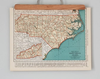 1930s Antique Maps of North Carolina and North Dakota