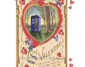 Tardis at Sunset Victorian Style Valentine Card with Violets and Hearts