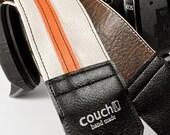 White & Orange Racing Stripe Camera Strap - Upcycled from guitar straps - eco vegan friendly