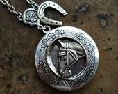 Horse Lover Locket in Silver, Equestrian Locket Exclusive Original Design  by  Enchanted Lockets