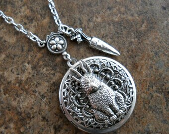 Hunny Bunny Locket in Silver, Rabbit Locket, Easter Locket  Exclusively by Enchanted Lockets