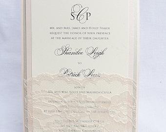 Lace Wedding Invitation, Lace Weddng Invite, Wedding Invitation, Wedding Invite, Lace Invite, Blush Invite, Lace Invitation LALA - SOLID
