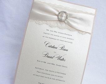 Lace Wedding Invitation, Lace Wedding Invite, Lace Invite, Vintage Invitation, Lace Invitation, Ivory Lace Invite, EVA - CIRCLE