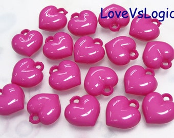 20 Puff Heart Acrylic Charms.Dark Fuchsia