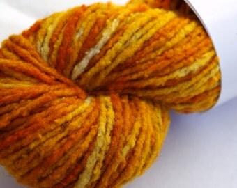 Hand-dyed Wool Yarn Marr Haven Ramboulliet Yellow Orange Dijon 2 oz Trim Skein