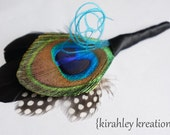 DYLAN Boutonniere -- Natural Peacock Feather Groom Groomsmen Wedding Prom Keepsake Lapel Pin Buttonhole Black Teal Blue Speckled Guinea