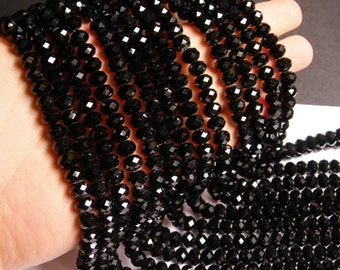 Crystal faceted rondelle - 70 pcs - 8 mm - A quality - full strand - black  - GSH40