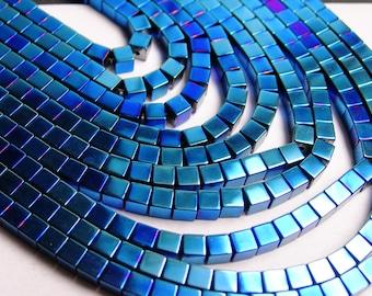 Hematite - 3mm cube beads - full strand - 120 beads - A quality - blue hematite - PHG10