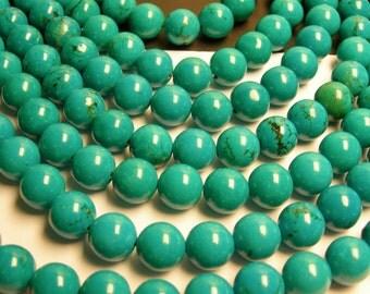 Howlite turquoise - 12mm(12.4mm) round beads -1 full strand - 32 beads - RFG248