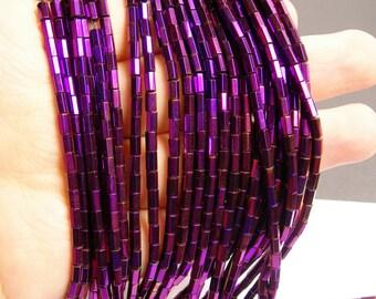 Hematite purple - 5mm tube hexagon beads -1 full strand - 82 beads - AA quality - PHG48