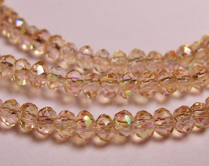 Crystal - rondelle faceted 3.5mm x  2.5mm beads - 98 beads - AA quality - sparkle ab light peach  - full strand - CAA2C34