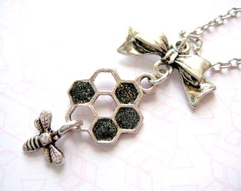 Honey Bee Necklace,Honeycomb Necklace, Bee Pendant Necklace, Fun Teen Jewelry