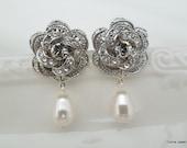 Bridal Earrings,Bridal Rhinestone Earrings,Ivory or White Pearls,Stud Earrings,Statement Bridal Earrings,Bridal Pearl Earrings,Stud,ROSELANI