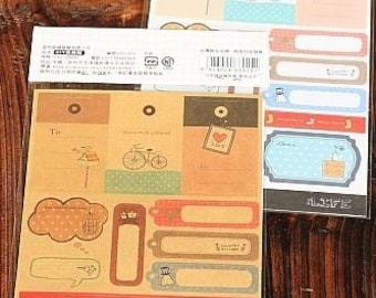 Sticker Set-Labels-Tags-Deco Stickers-Embellishment-Scrapbooking Stickers-Envelope Seals