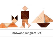 Real Hardwood 3 TANGRAM SETS - Classic Wood Puzzle/Toy/Game for Children and Adults Alike!